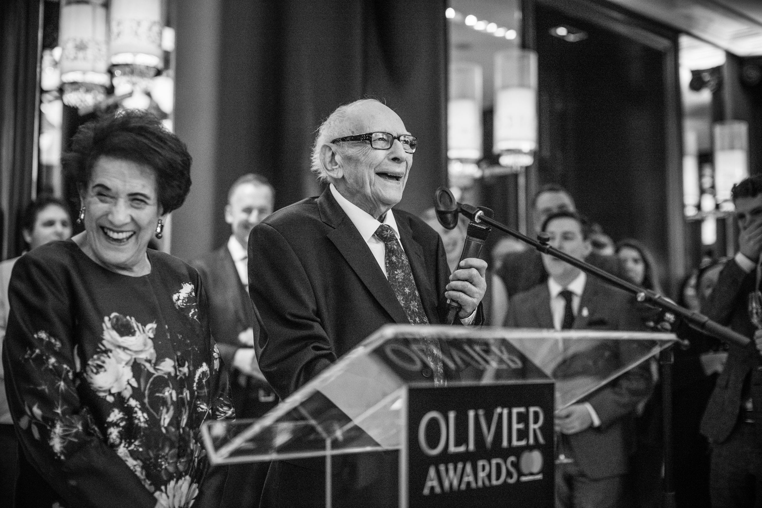 Lilian and Victor Hochhauser receiving the Special Recognition Award at the Olivier Awards 2017